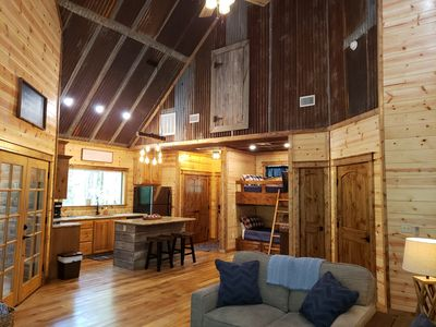 Photo for Brand New! Rustic Charm Couples Cabin; 1 BR; Bunks; Hot Tub; Fireplace