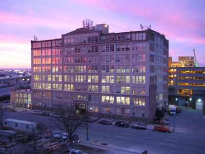 The building at sunset.