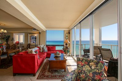 Wrap around views of the Gulf from the Living Room  sofa