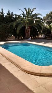 The large pool is well screened and quite private, with a shower.