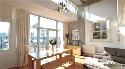 Photo for Canalside Penthouse, 2 bedroom with views over the canal, 15 min to Old Street