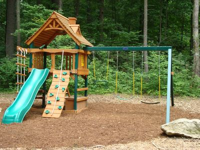 Kids love to play on the slide, swings, climbing wall, ladder & picnic table