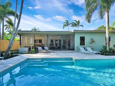 Photo for Heated salt water pool, 2 bdrm / 2 bath, quiet, private, covered outdoor spaces