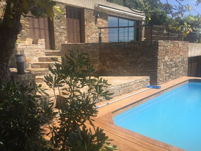 Photo for Villa entirely renovated, with swimming pool, splendid view Golden islands.