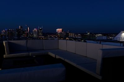 Enjoy the city view from the huge rooftop deck