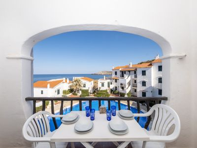 Photo for Beautiful apartment with pool and sea views for 6 pax in Playas de Fornells