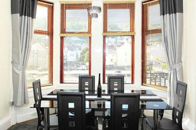 Dining area in the lounge, this has fantastic views of the Great Orme