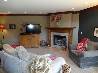 cozy living room and fireplace