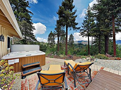 Photo for New Listing! Mountain-View Hideaway w/ Hot Tub & Serene Outdoor Living Areas
