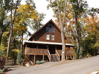 Photo for Pigeon Forge 3 Bedroom Cabin Sleeps 8 Hot Tub Pool Table Theater Room Jacuzzi  Resort pool Cov. Deck
