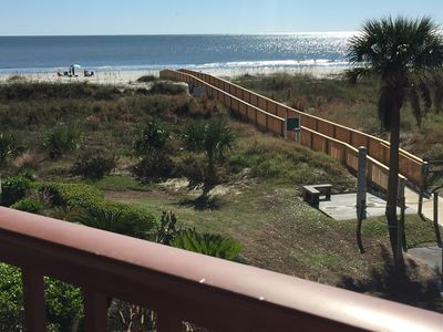 Balcony view! New boardwalk to the beach from our building.