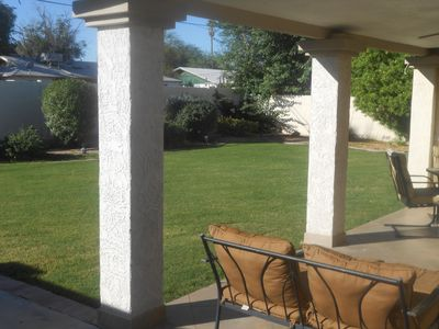 Looking at backyard from patio