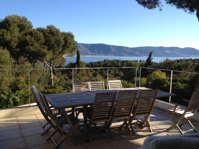 Photo for Cap Bénat, 8 people, real sea view, pool, air conditioning, wifi, bed 180cm and 160cm