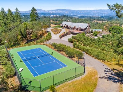Photo for Exquisite vineyard estate on 55 acres w/ pool, tennis, bocce & amazing views!