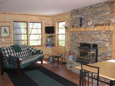 Den area with fireplace