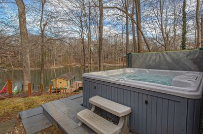 Hot-Tub Overlooking Lake at this smith mountain lake waterfront home
