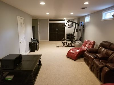 Photo for Spacious Cool Blue King Bedroom + Gym & In-home Theater