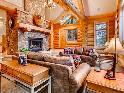 Photo for Extraordinary Western Log Home on the 4 O'clock Run; Deck, Hot Tub & Fire Pit