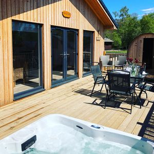 Photo for The Escape, Luxurious 3 bedroom lodge, Hot Tub & Outdoor Barrel Sauna