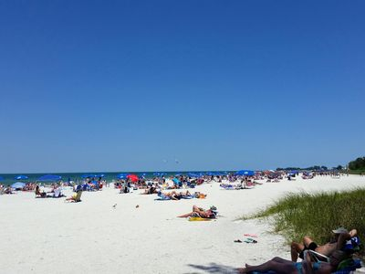 Bradenton Beach is just across the street from the home where you can bring the provided beach cart full of sand toys and beach chairs for your family to enjoy.