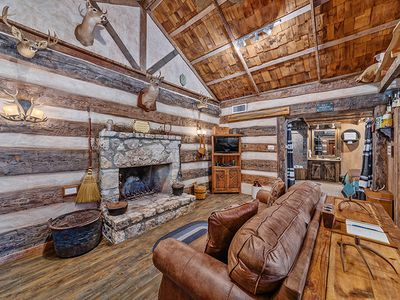 Photo for Absolutely Charming Grist Mill Log Cabin, King bed, Whirlpool tub, Cozy and Quaint!