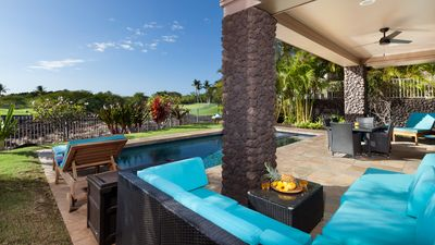 Covered lanai with lots of seating!
