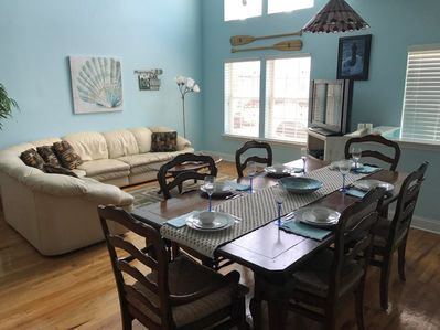 Plenty of space for  the whole family to eat and relax after a day at the beach