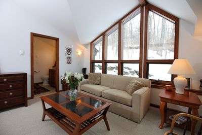 <center>Downstairs sitting room with large windows for wooded views and natural lighting<center>