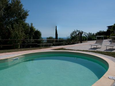 Photo for Detached villa with pool and large garden and beautiful sea view