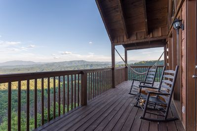 Cozy rocking chairs on the back deck overlooking the STUNNING views.