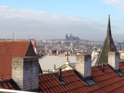 Photo for Watch Prague from balcony with sweeping views of Castle, Petřín Hill & Old Town