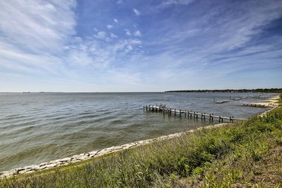 The vacation rental home is right on the water!