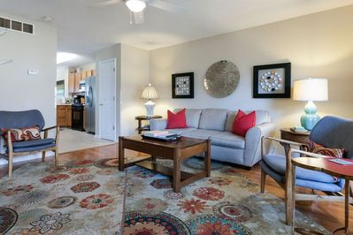 The living area opens up to the kitchen and dining room for easy entertaining!