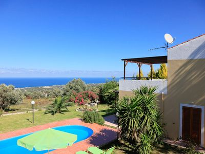 Photo for Villa Sevos: Large Private Pool, Sea Views, A/C, WiFi, Car Not Required