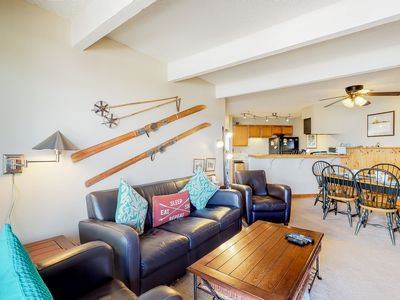 Photo for Cozy mountain view condo w/ private balcony & wood-burning fireplace