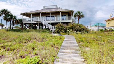 "Photo for Ready after Hurricane Michael! FREE BEACH GEAR! Beachfront, Pets OK, Private Boardwalk, Fireplace, Wi-Fi, 4BR/4BA ""Salty Dawg"""
