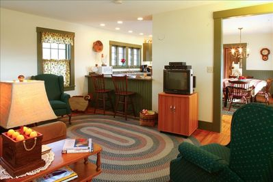 Ample living room with pull out couch, flat screen TV, satellite, DVD player.
