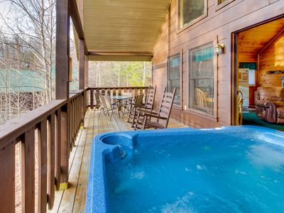Photo for Cozy dog-friendly cabin w/private hot tub, games, and jetted soaking tub