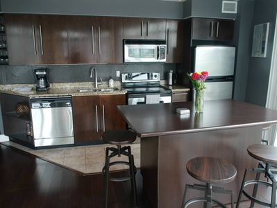 Spacious kitchen with stainless steel appliances