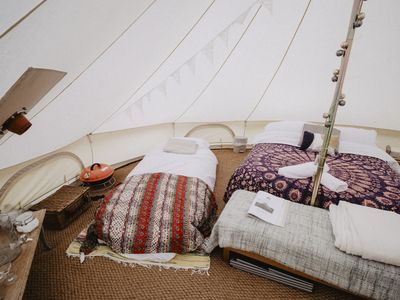 Photo for Boho Bell Tent - Electric Pitch. Incledon Farm, Georgeham, Croyde. SM.