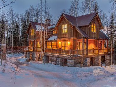 Photo for Spacious and stately log cabin home with private hot tub, ideal mountain getaway for your large grou