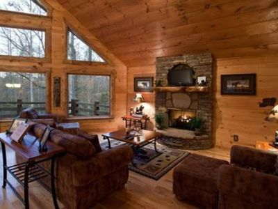 Photo for Serenity On The Mountain offers stack stone accents with soaring custom windows to enjoy the view. P