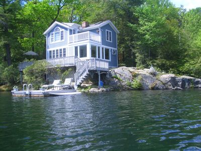 Photo for Kozy Direct Waterfront cottage, One Of A Kind Private Lake Loc, 2 Docks-NYC 75m
