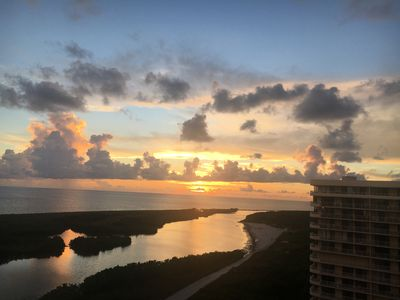 Beautiful sunsets from our 38 foot long balcony