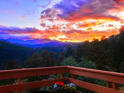 Photo for Cozy Cabin on 2.5 acres with stunning views of Longs Peak & Rocky Mountain N.P.!