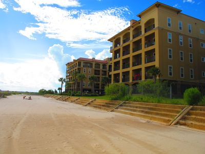 Upper floor frontal condo viewed from beach.