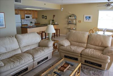 Relax and enjoy great family time together on our reclining couch and loveseat