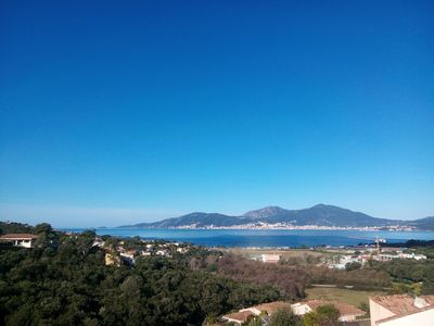 Photo for Studio 2 people overlooking the bay Porticcio with swimming pool in the residence.