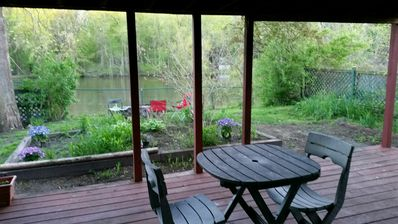 Deck and firepit overlooking the river
