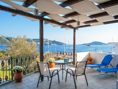 Photo for Spacious Luxury Townhouse apartment in Skiathos with private parking & private terrace.